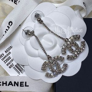 CHANEL NWT Authentic Crystal Strass CC Earrings